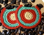 Crochet earrings size  large in red and yellow