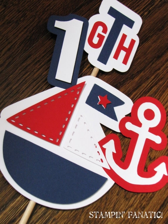 Sailing Boy Collection: Custom and Made to Order Nautical Centerpiece Flag Stick. Nautical Birthday, Cake Topper, Large Centerpiece Flag.