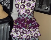 Purple and Blue Three Ruffles Apron