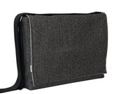 "15"" Laptop Messenger Bag - Large Black Herringbone Bag"