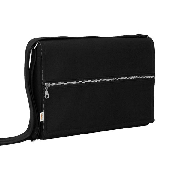 iPad Messenger Bag - Padded iPad Bag - Modern Black iPad Bag