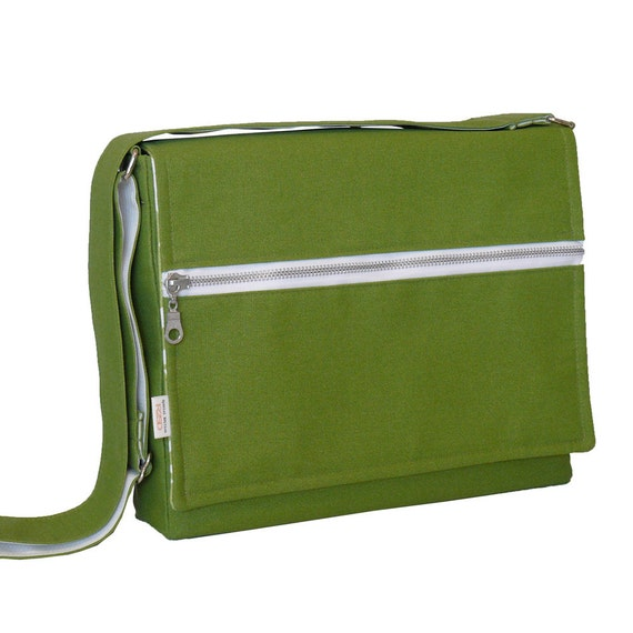 iPad Messenger Bag - Padded iPad Bag - Modern Green Bag
