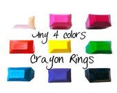 PREMADE Crayon Rings Set of 4 - Choose from Size: Kids, 5, 6, 7, 8 - You Choose Colors