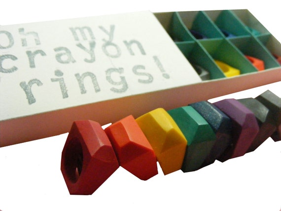PREMADE Crayon Rings set of 8 - choose from SIZE: kids, 5, 6, 7, or 8