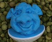 Smiling Hand Carved Blue Caricature Golf Ball