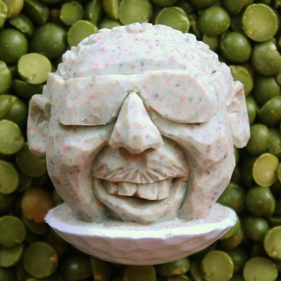 Hand Carved Caricature Golf Ball with Glasses
