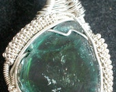 RESERVED Mozambique Tourmaline Slice Wire Wrap Pendant