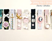 Hair Clips - Charms Collection, vintage charms and crystals, YOU CHOOSE