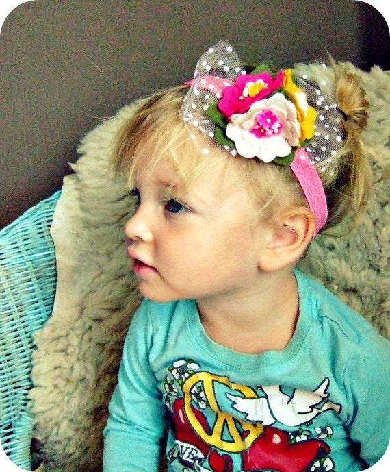 Bright Felt Flowers Headband with vintage millinery flowers, wool felt