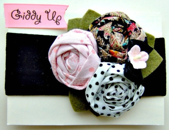 Darling Rosette Headband with vintage fabric and wool felt