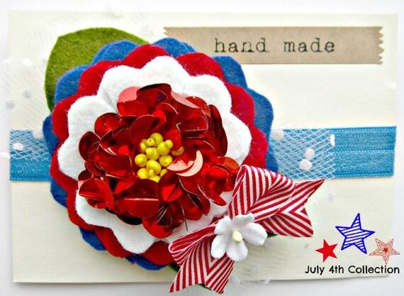 Felt Flower Headband - July 4th Headband with sequin center, Patriotic