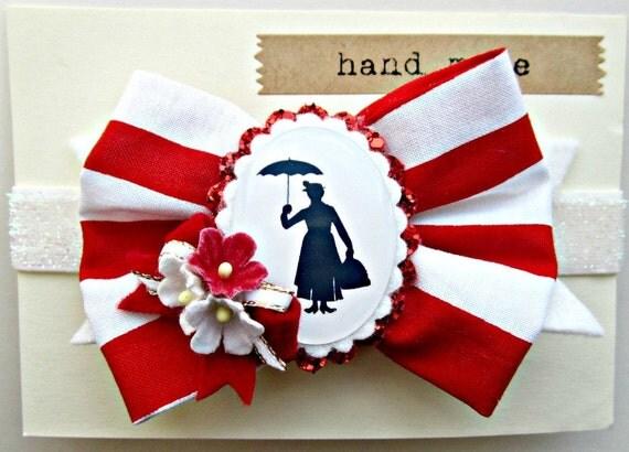Bow Headband -Mary Poppins Disney inspired, Millinery Flowers
