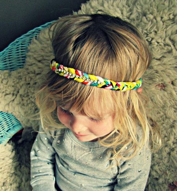 Braided Headband - Boho Headband with Crystals