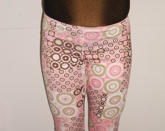 Brown and pink cotton lycra leggings-any size