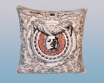 Bliss Pillow - Coral/Blue/Tan
