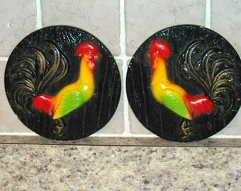 Retro Chalkware Wall Plaque Red Yellow Green Roosters