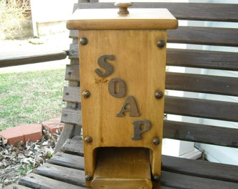 Vintage Wooden Bathroom Soap Box Rustic Holder