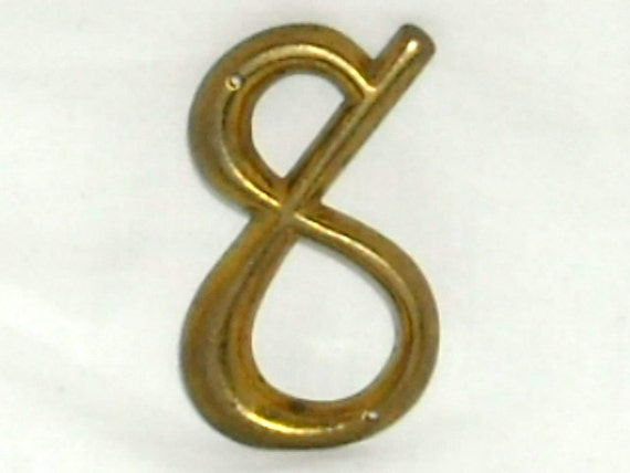 Vintage Number 8 Brass Metal Artwork Address Number