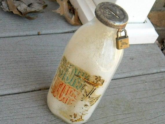 Vintage Milk Bottle Bank Stork Stuff Quart Size