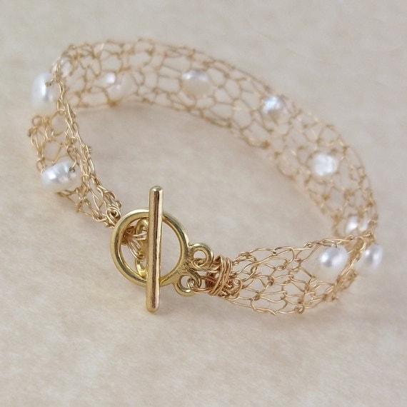 Pearl 14k Gold Bracelet, Wedding and Bridal