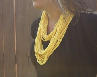 Yellow Winter Accessories, Scarf,  Shredded Tshirt, Necklace, Lemon Yellow