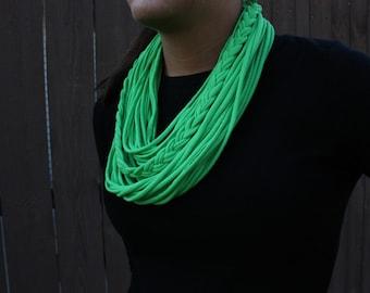 Green Braided Scarf, Tshirt scarf, Womens Scarves