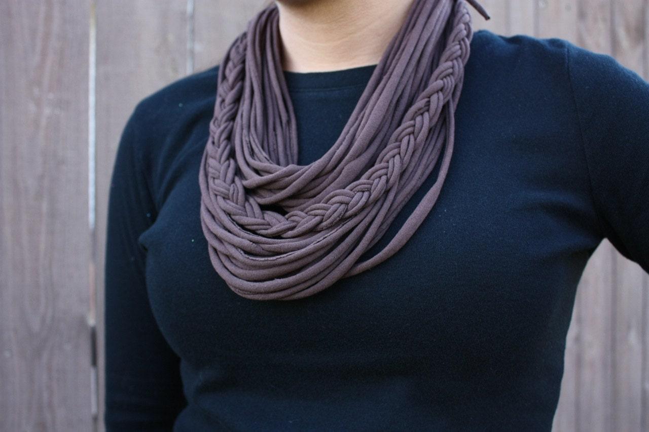 brown scarf braided scarf fashion scarf by keywheatkreations