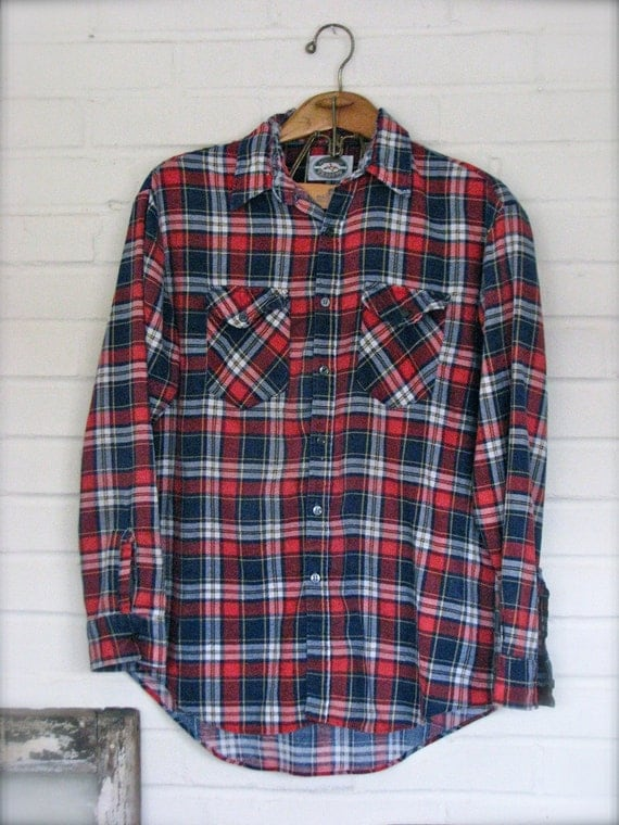 "Men""s / Women's / Unisex / Boyfriend Distressed Flannel Shirt"