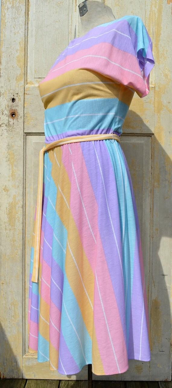 CLEARANCE SALE - 80s Pastel Striped Jersey Dress M/L