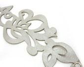 Laser cut bracelet - matte silver leather cuff bracelet