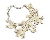 Cream floral leather bib necklace - laser cut leather