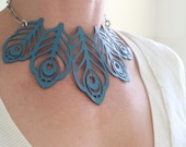 Laser cut peacock feather necklace in teal / turquoise leather