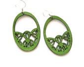 Laser cut earrings - Lime green victorian style leather earrings