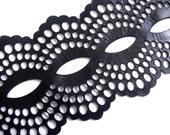 Black leather cuff bracelet - laser cut lace design