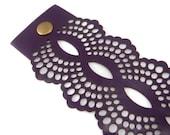 Dark purple / plum leather cuff bracelet - laser cut lace design