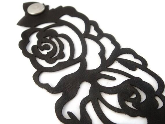 Black leather cuff bracelet - laser cut rose design in black leather