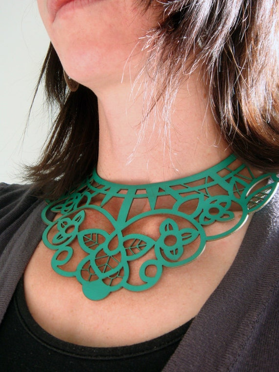 Leather necklace choker - laser cut lace design in green