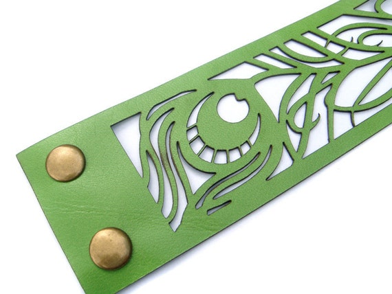 Peacock feather - laser cut leather cuff bracelet in lime green