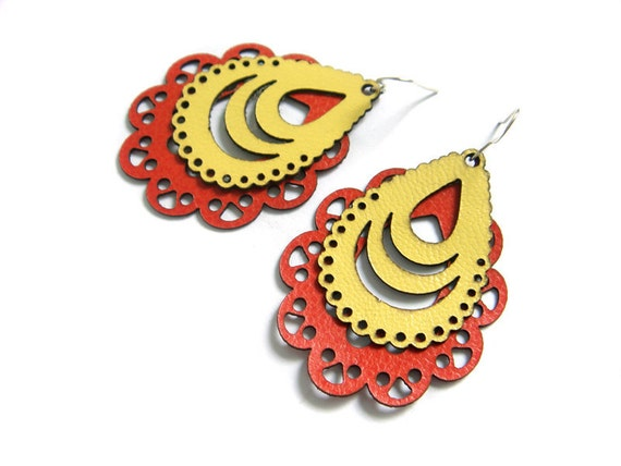 Laser cut leather earrings - filigree design in yellow and orange