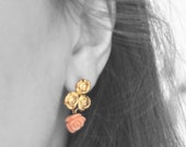FREE SHIPPING- Pink Rose coral earrings (sterling silver 22 k gold plated)