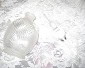 Vintage Frosted Crystal Art Deco Swirl Perfume Bottle w/ Stopper