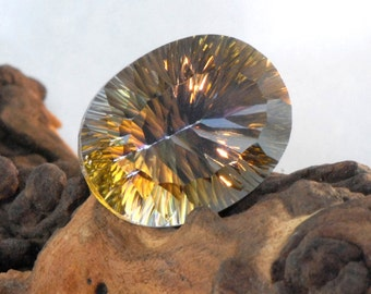 Yellow Mystic Quartz faceted oval concave cut natural gemstone 54 cts