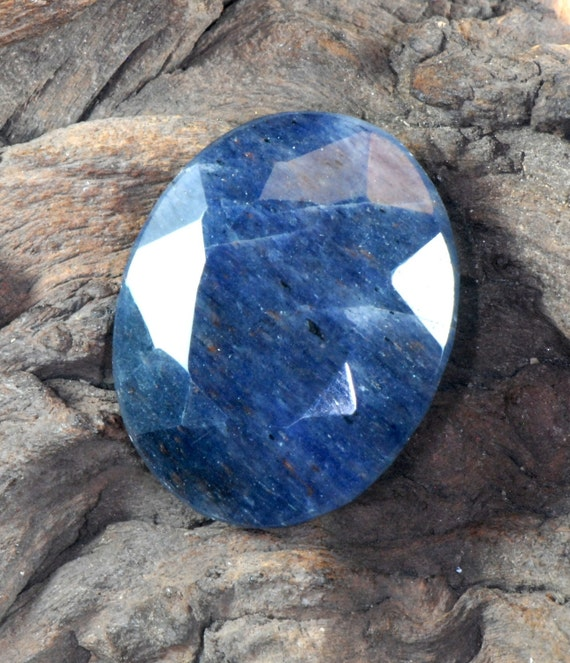 Blue Aventurine faceted natural oval gemstone 81 cts