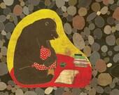 WINTER is COMING SOON art print - cute brown bear illustration // winter wall decor
