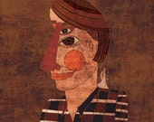 TRUMPETER art print - musician portrait // brown illustration // jazz trumpet music