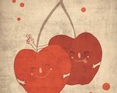 CHERRY - art print // digital illustration // fruit home decor kitchen wall red