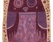 OWL art print // purple home decor