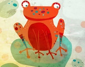 FROG art print // orange animal illustration // nursery wall decor