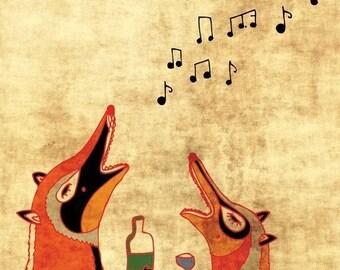FOXFUN art print - funny illustration // drunk foxes singing // orange music happy woodland