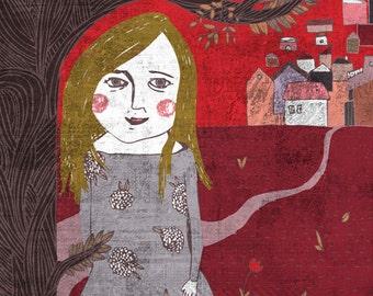 MILDI art print // home decor // deep red illustration
